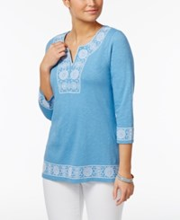 Charter Club Cotton Embroidered Peasant Top Only At Macy's Smokey Sky