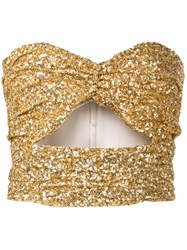Attico Sequinned Cut Out Top Gold