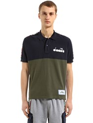 Diadora Lc23 Color Block Twill Polo Shirt Blue Green