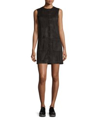 Helmut Lang Sleeveless Suede Button Front Mini Dress Black