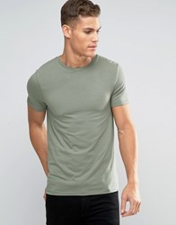 Asos Muscle T Shirt With Crew Neck In Green Mangrove