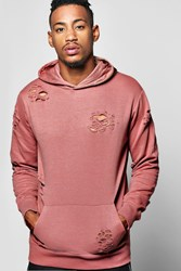 Boohoo The Head Distressed Hoodie Pink
