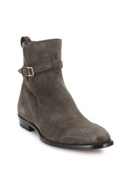 Bally Hopper Buckle Suede Boots Dark Tundra