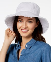 August Hats Cotton Frayed Edge Sun Hat White