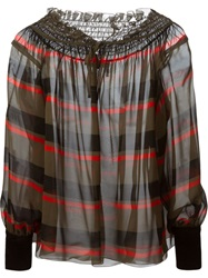Sonia Rykiel Striped Peasant Blouse Green