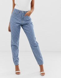 Missguided High Rise Mom Jean In Lightwash Blue Logo Print