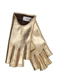 Gucci Fingerless Metallic Leather Gloves