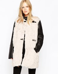 Urbancode Faux Fur Bonded Suede Coat With Contrast Sleeves Rosewaterdoveblac