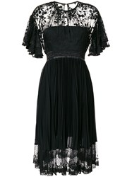 Three Floor Pleated Lace Dress Cotton Polyamide Polyester Black