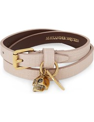 Alexander Mcqueen Skull Leather Double Wrap Bracelet Nude