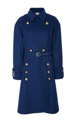 Alexis Mabille Belted Trench Coat Blue