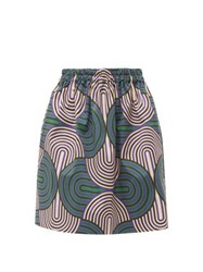 La Doublej Pouf Abstract Print Cotton Blend Skirt Green Multi