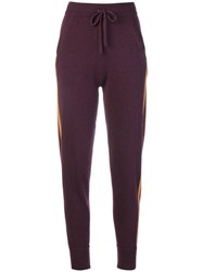 N.Peal Striped Knitted Track Pants Pink And Purple