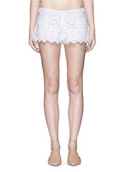 Miguelina 'Minnie' Geometric Cutwork Embroidery Drawstring Shorts White