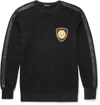 Balmain Leather Trimmed Cotton Sweatshirt Black