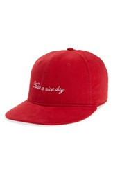 Rag And Bone Men's Dylan Embroidered Cap Red