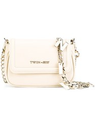 Twin Set Logo Plaque Crossbody Bag Nude Neutrals