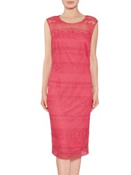 Gina Bacconi Open Panel Embroidery Dress Coral Red