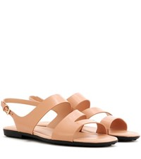 Tod's Patent Leather Sandals Neutrals