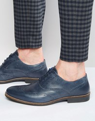 Red Tape Brogues In Navy Leather Blue