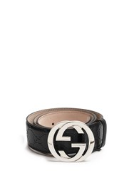 Gucci Gg Buckle Leather Belt Black