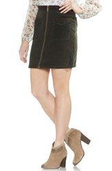 Vince Camuto Washed Corduroy Zip Front Miniskirt Rich Olive