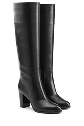Sergio Rossi Leather Knee Boots Black