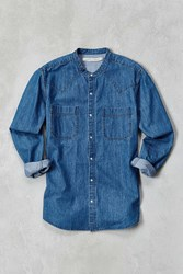 Shades Of Grey By Micah Cohen Banded Collar Denim Western Shirt Blue