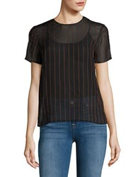 Dkny Sheer Pinstriped Short Sleeve Top Blue