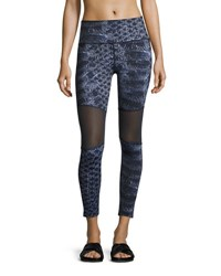 Varley Sycamore Mesh Panel Compression Running Tights Blue Pattern