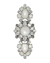Marchesa Cluster Cocktail Ring White Silver
