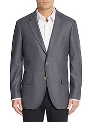 Saks Fifth Avenue Slim Fit Textured Wool Sport Coat Grey