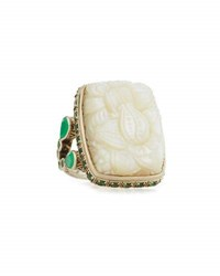 Stephen Dweck Carved Mother Of Pearl And Green Quartz Ring