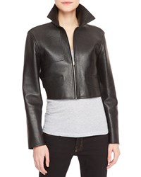 Alexander Wang Leather Front Knit Back Cropped Moto Jacket Black Gray