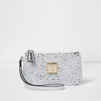 River Island Womens White And Silver Sequin Mini Pouch Purse