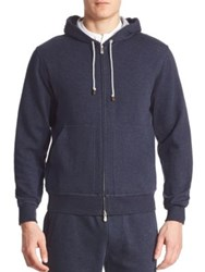 Brunello Cucinelli Long Sleeve Hooded Sweatshirt Navy