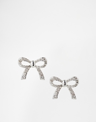 Talullah Tu Bow Crystal Stud Earrings Silver