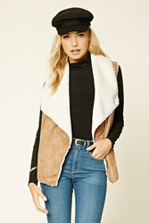 Forever 21 Faux Suede Vest Camel Cream