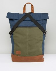 Asos Roll Top Backpack In Color Block Blue