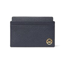 Kingsman Smythson Panama Cross Grain Leather Cardholder Navy