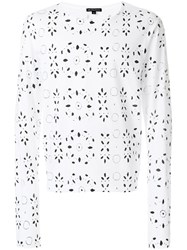 Ann Demeulemeester Broderie Anglaise Print Sweatshirt White
