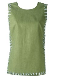 Tory Burch Embellished Tank Top Green