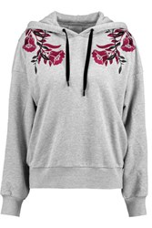 Cinq A Sept Koko Embroidered Cotton Jersey Hooded Sweatshirt Gray