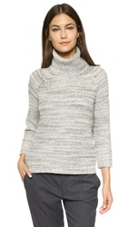 Three Dots Chunky Knit Turtleneck Sweater Granite Combo