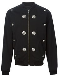 Versus Lion Head Stud Bomber Jacket Black