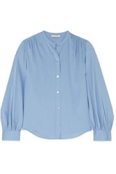 Vince Stretch Silk Blouse Blue