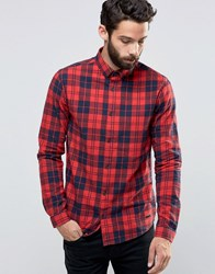 Only And Sons Flannel Check Shirt Red