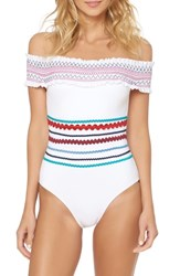 Red Carter Smocked Off The Shoulder Swimsuit White