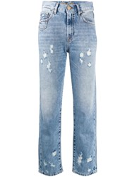 Don't Cry Cropped Distressed Jeans Blue
