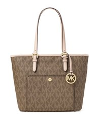 Michael Michael Kors Jet Set Snap Pocket Tote Mocha